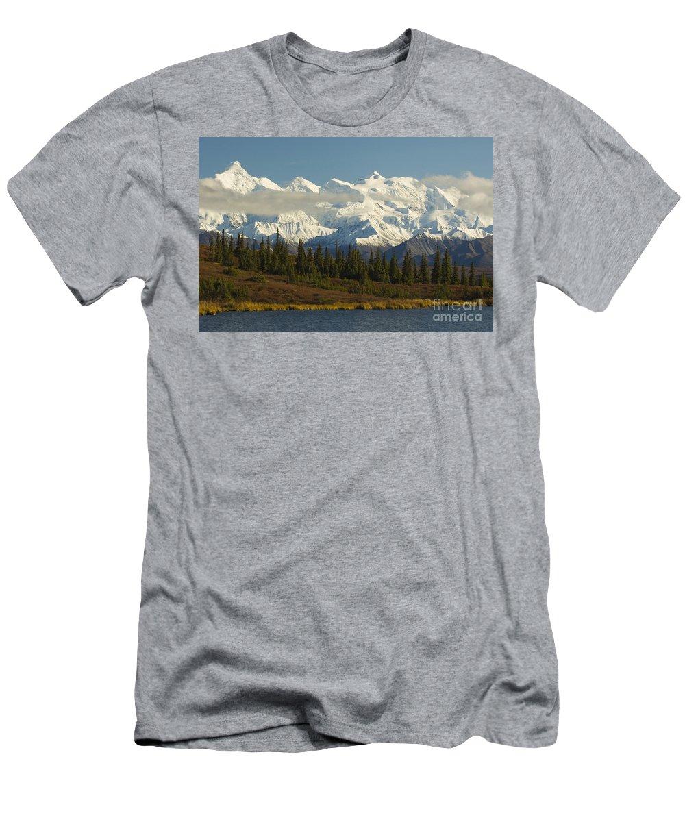 Alaska Range Men's T-Shirt (Athletic Fit) featuring the photograph Denali National Park by John Shaw