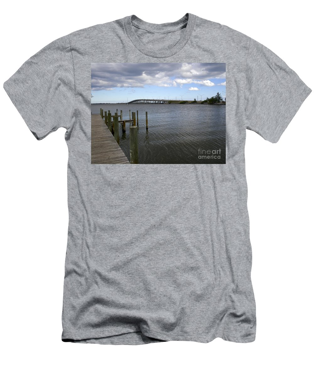 Eau Men's T-Shirt (Athletic Fit) featuring the photograph Eau Gallie Causeway Over The Indian River Lagoon At Melbourne Fl by Allan Hughes