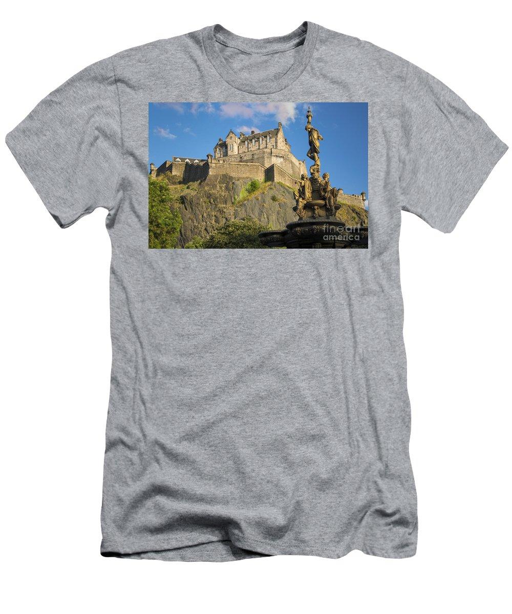 Artwork Men's T-Shirt (Athletic Fit) featuring the photograph Edinburgh Castle by Brian Jannsen