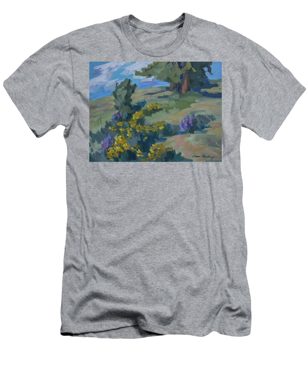 Flowering Meadow Men's T-Shirt (Athletic Fit) featuring the painting Flowering Meadow by Diane McClary