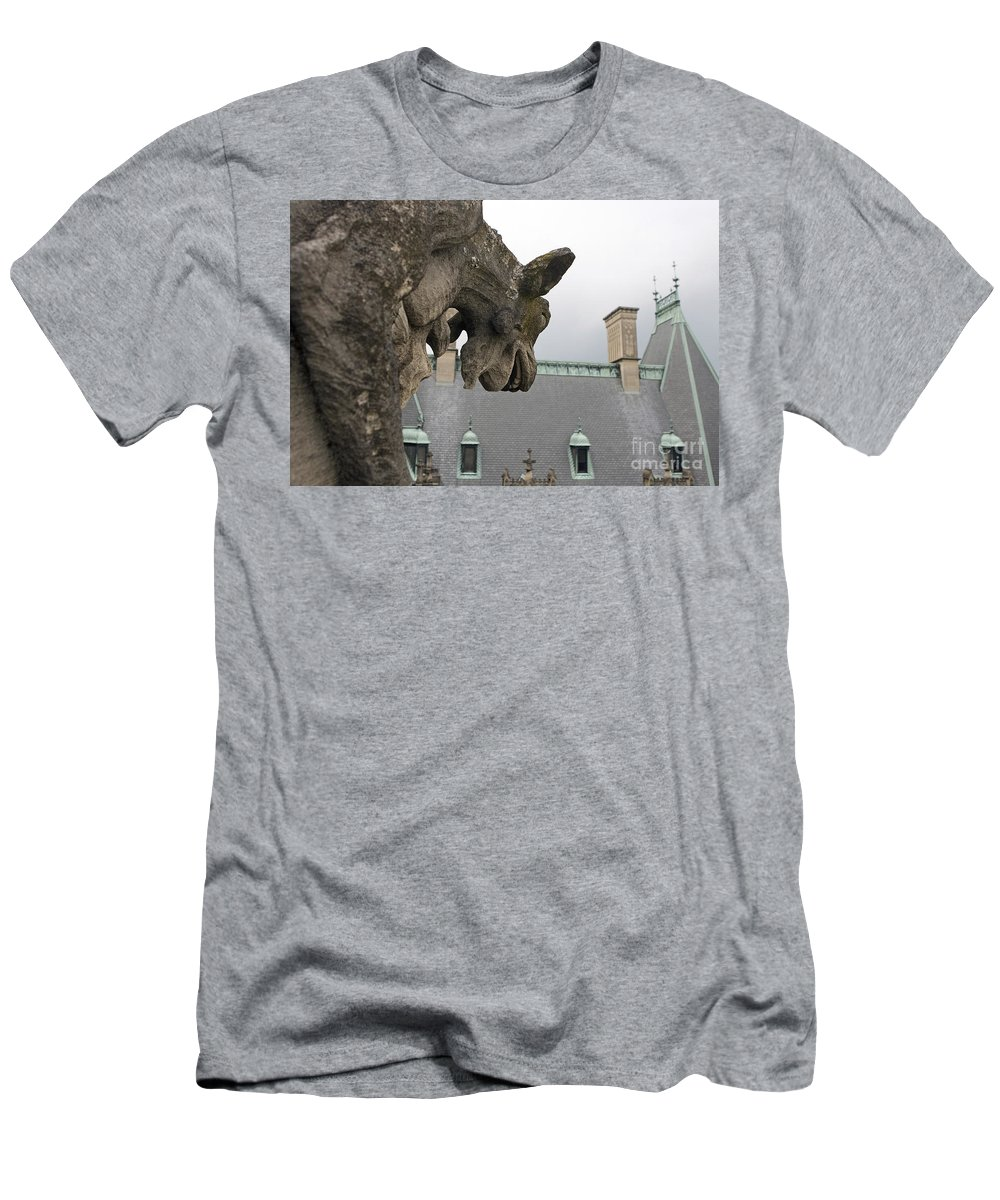 Biltmore Estate Men's T-Shirt (Athletic Fit) featuring the photograph Gargoyles On Roof Of Biltmore Estate by Jason O Watson