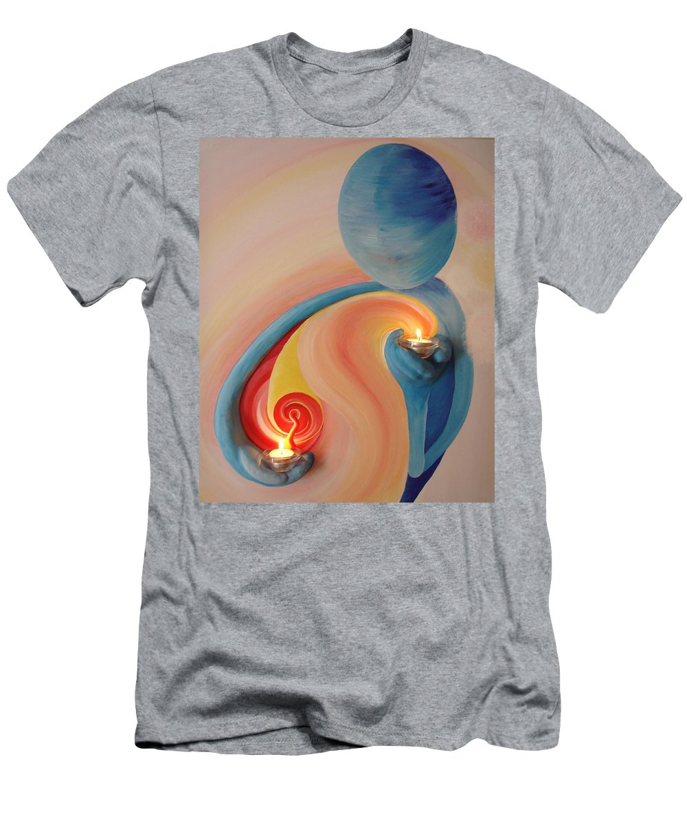 Helping Hands Men's T-Shirt (Athletic Fit) featuring the mixed media Helping Hands Energy Collection by Catt Kyriacou