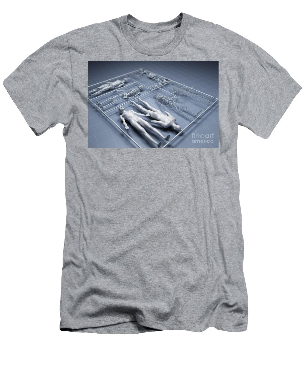 Gray Background Men's T-Shirt (Athletic Fit) featuring the photograph Human Cloning by Science Picture Co
