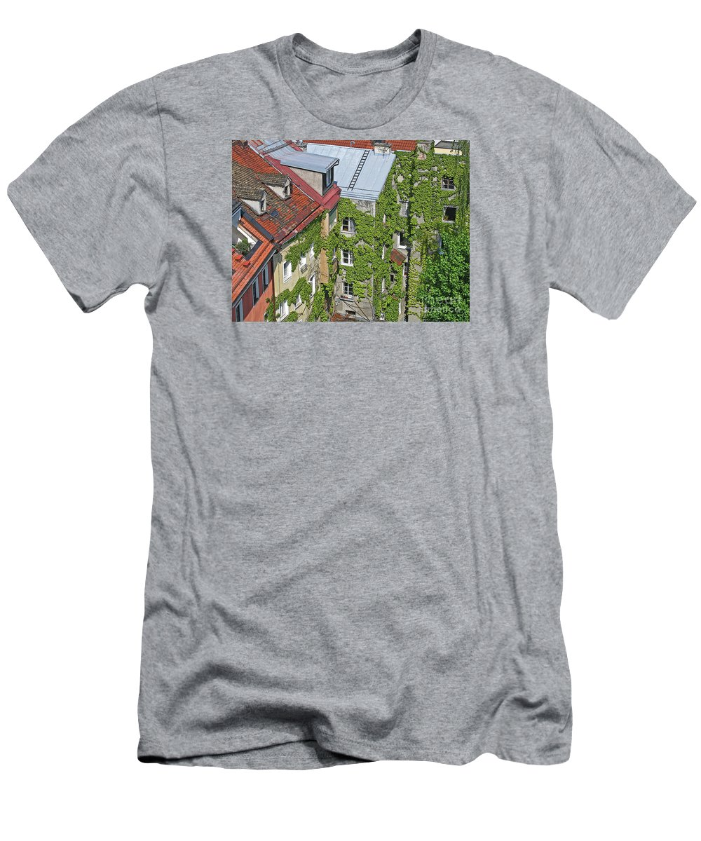 Innsbruck Men's T-Shirt (Athletic Fit) featuring the photograph Ivy Courtyard by Ann Horn