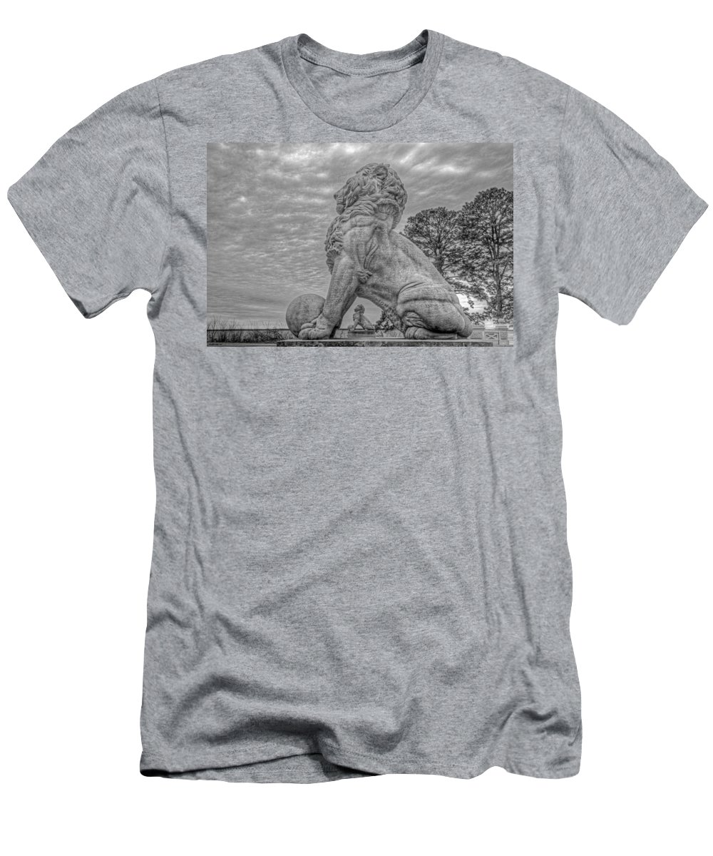 Double Lions Men's T-Shirt (Athletic Fit) featuring the photograph Lions Bridge East Lake Side by Jerry Gammon