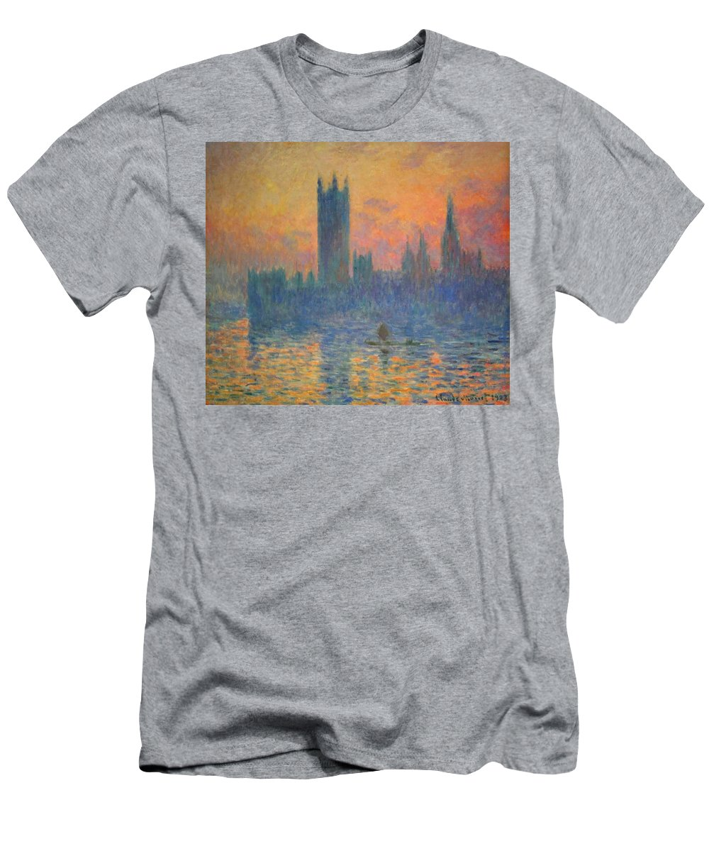 The Houses Of Parliament Men's T-Shirt (Athletic Fit) featuring the photograph Monet's The Houses Of Parliament At Sunset by Cora Wandel