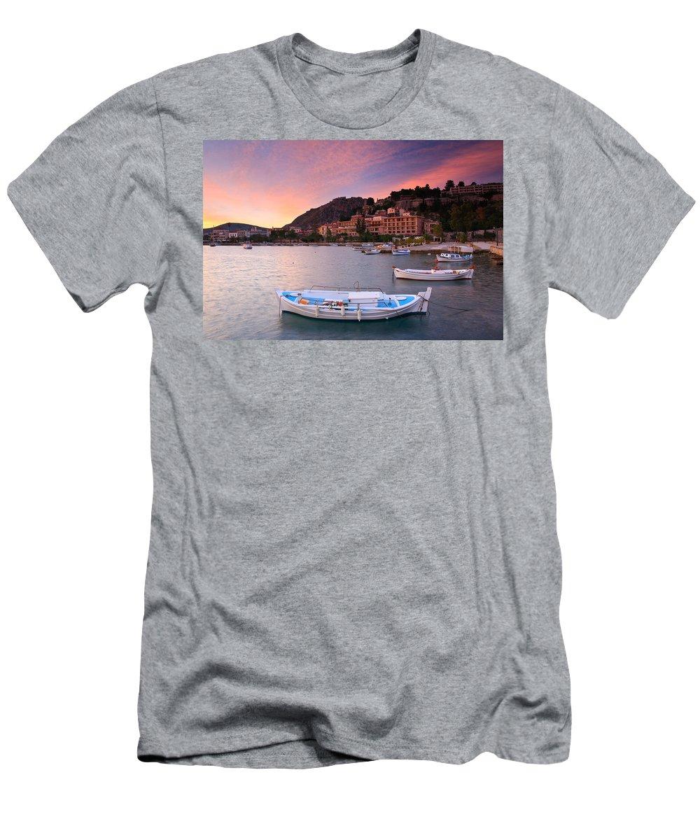 Harbour Men's T-Shirt (Athletic Fit) featuring the photograph Nafplio Harbour by Milan Gonda