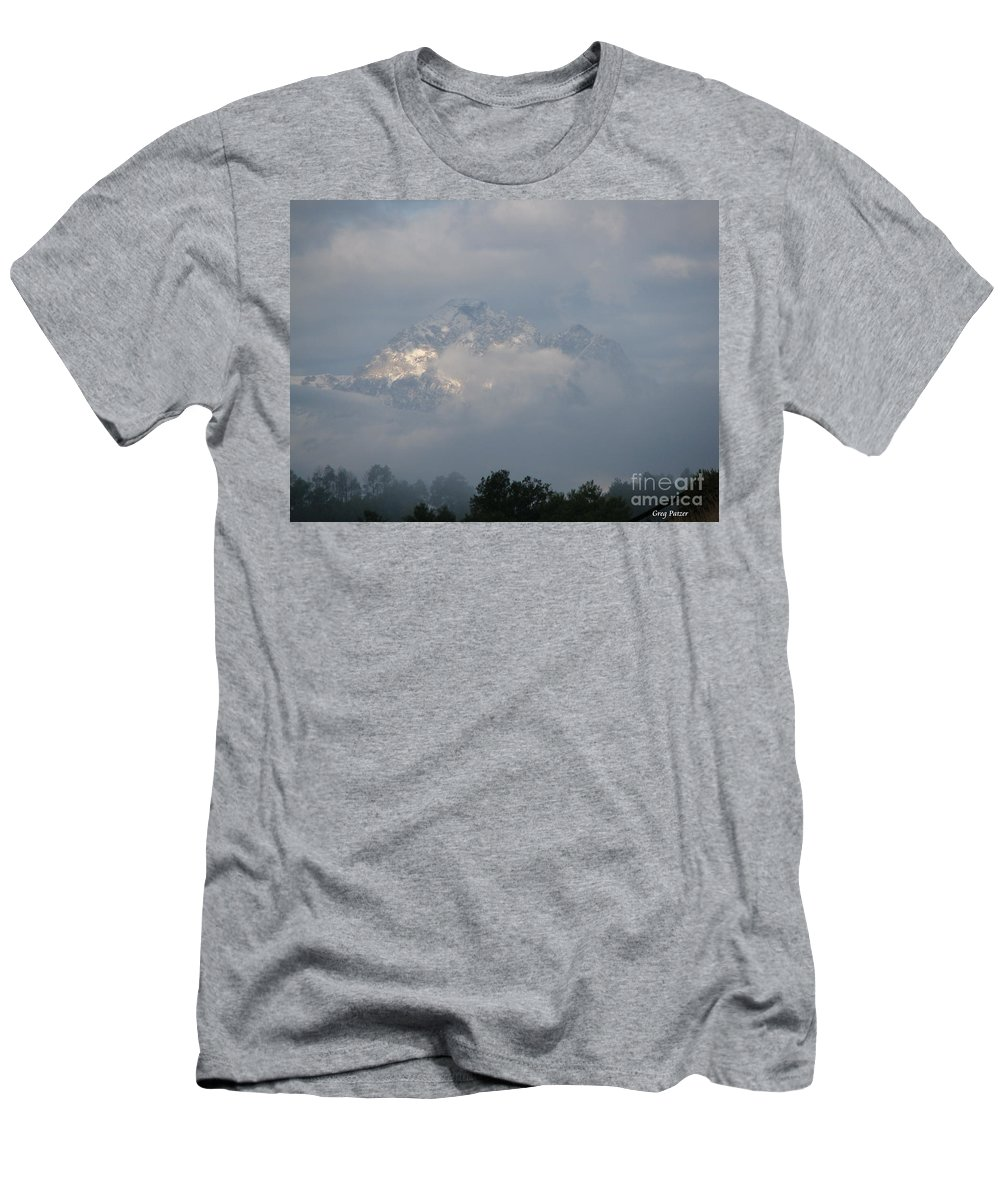 Rocky Mountains Men's T-Shirt (Athletic Fit) featuring the photograph Out Of The Clouds by Greg Patzer