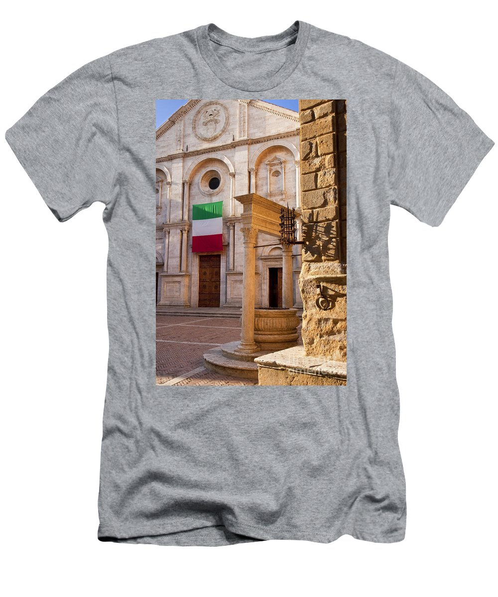 Water Well Men's T-Shirt (Athletic Fit) featuring the photograph Pienza Tuscany by Brian Jannsen