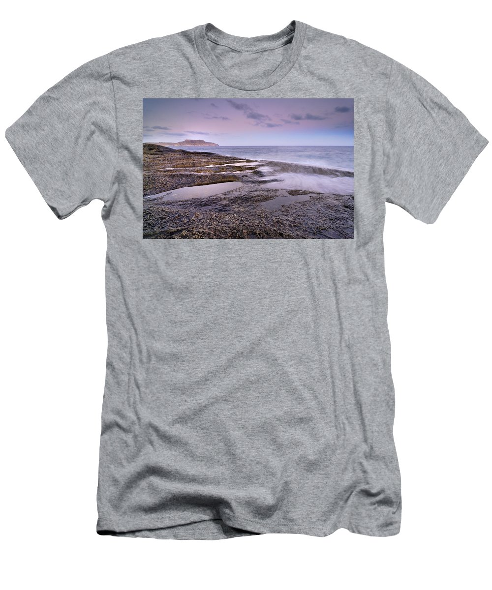 Seascape Men's T-Shirt (Athletic Fit) featuring the photograph Plomo Beach by Guido Montanes Castillo