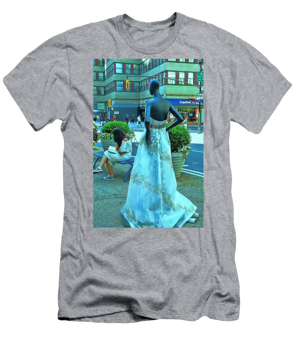 Broadway Catwalk Men's T-Shirt (Athletic Fit) featuring the photograph Sidewalk Catwalk 13 by Allen Beatty