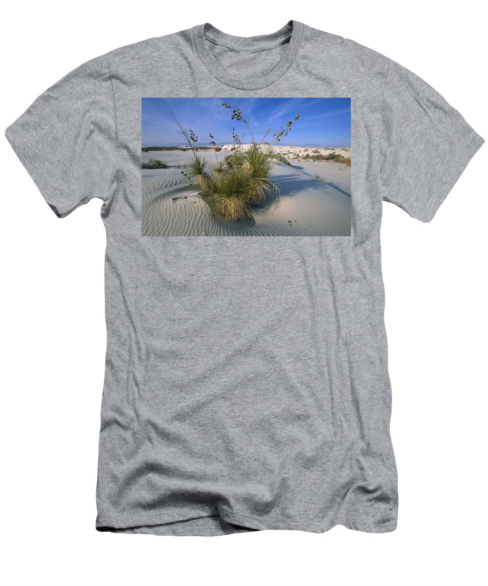 Feb0514 Men's T-Shirt (Athletic Fit) featuring the photograph Soaptree Yucca In Gypsum Dunes White by Konrad Wothe