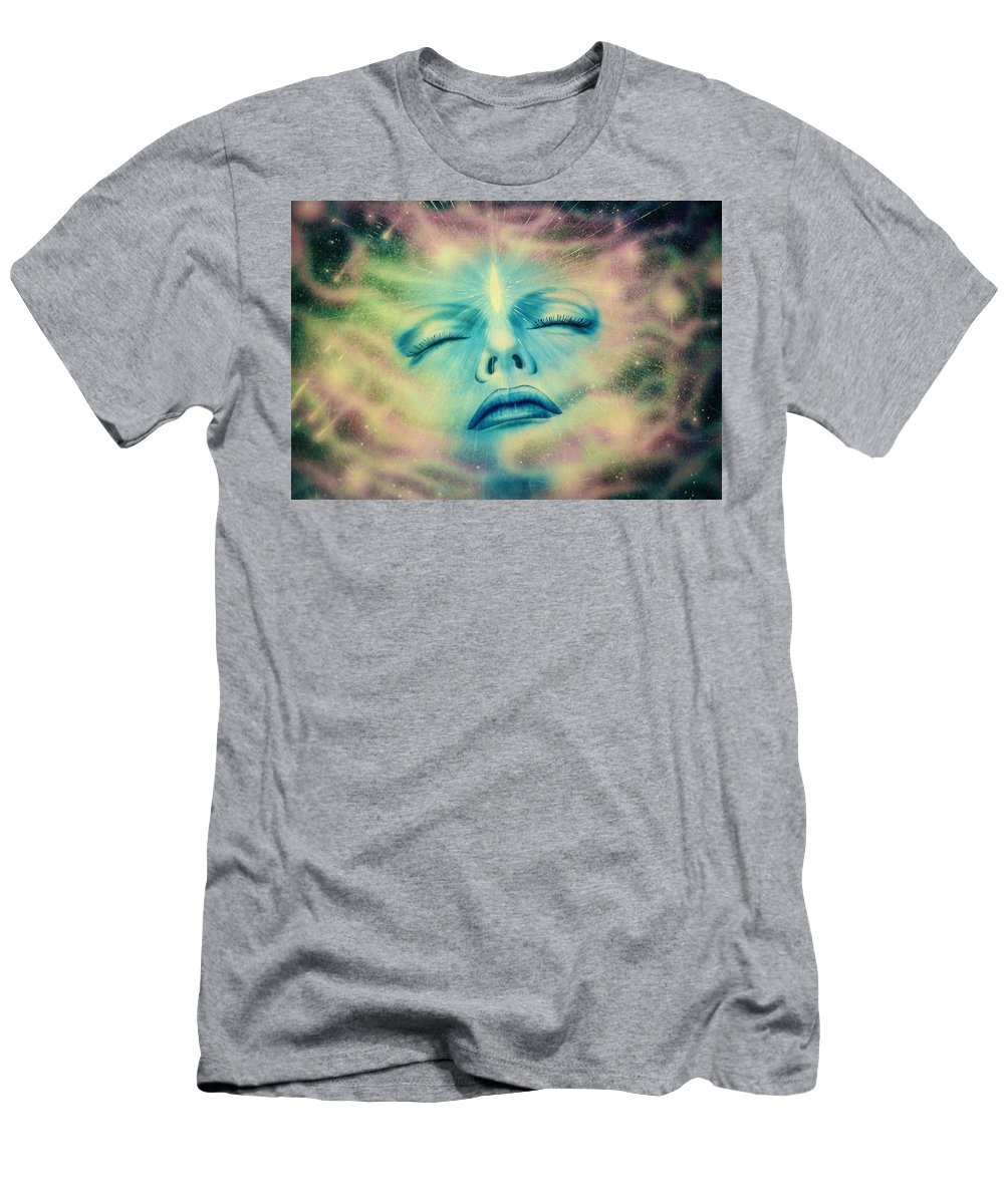 Yoga Art Men's T-Shirt (Athletic Fit) featuring the painting The Awakening by Mark Beach