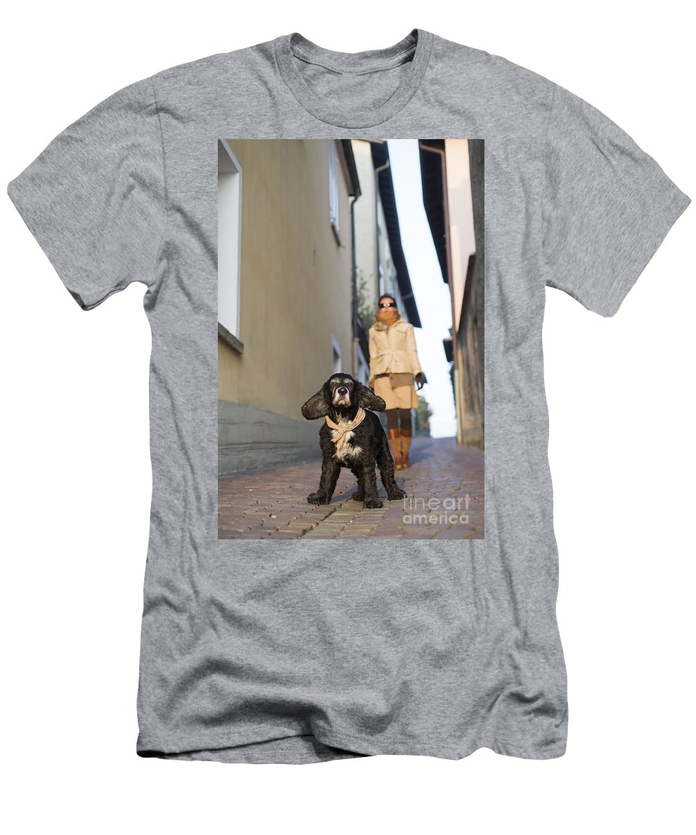 Woman Men's T-Shirt (Athletic Fit) featuring the photograph Woman Walking With Her Dog by Mats Silvan