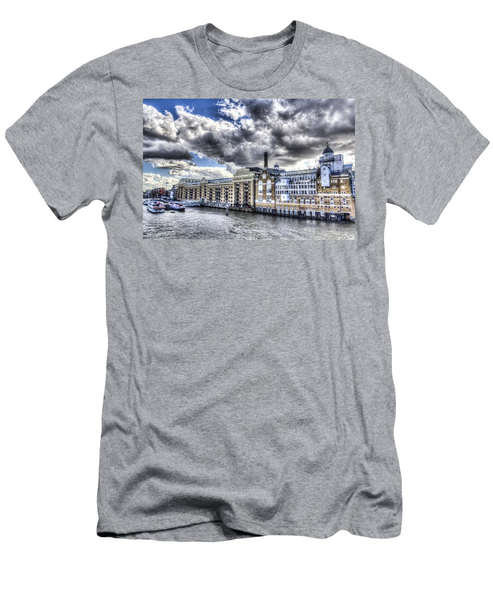 Butlers Wharf Men's T-Shirt (Athletic Fit) featuring the photograph Butlers Wharf London by David Pyatt