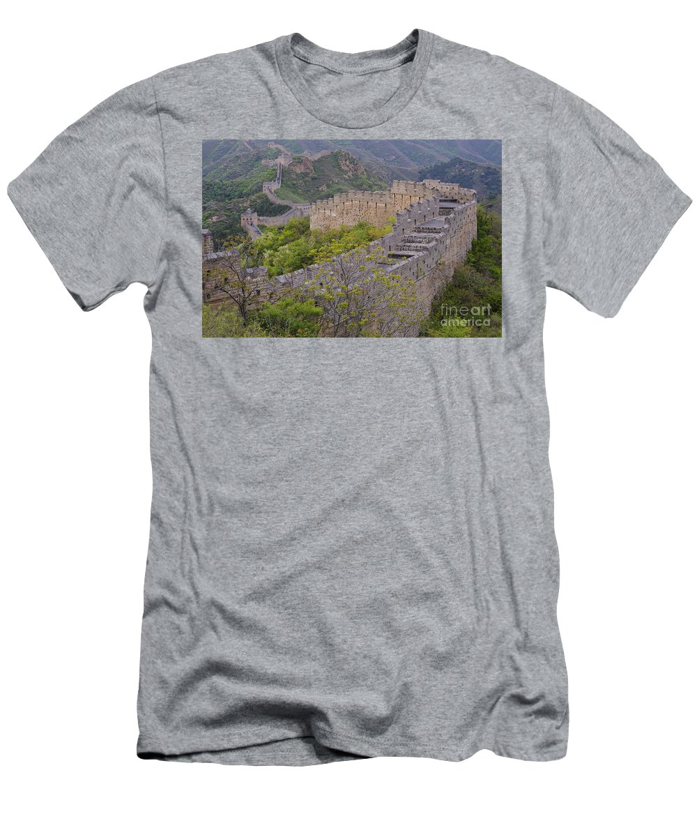 Great Wall Men's T-Shirt (Athletic Fit) featuring the photograph Great Wall Of China by John Shaw