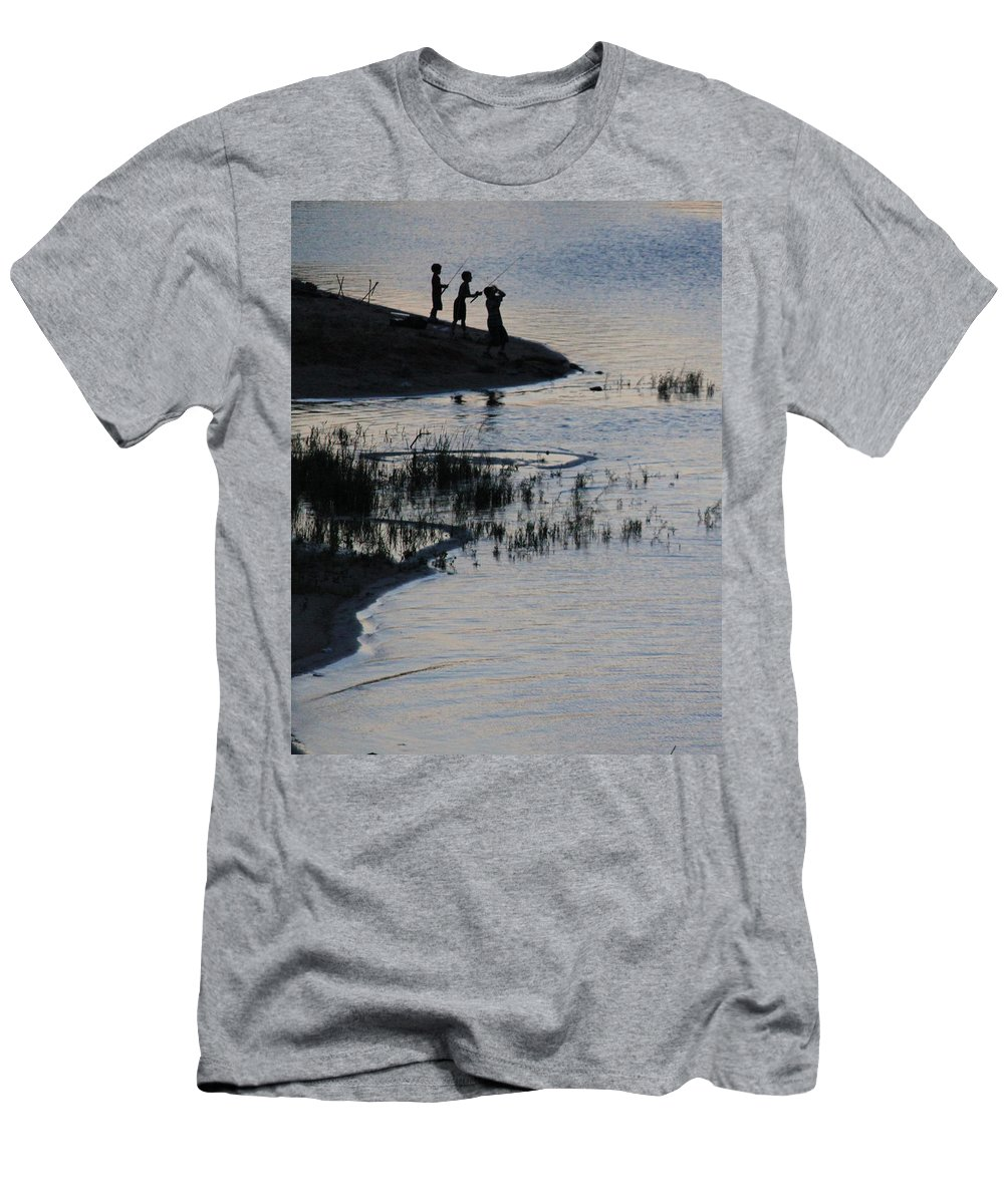 Lake Men's T-Shirt (Athletic Fit) featuring the photograph 3 Boys Fishing by Steve Herndon