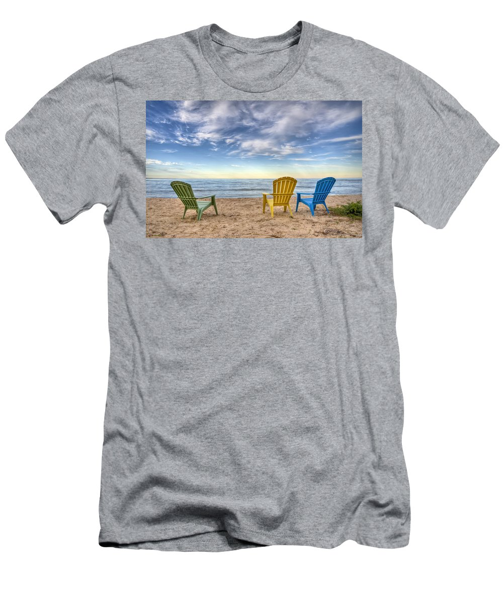 Chairs Men's T-Shirt (Athletic Fit) featuring the photograph 3 Chairs by Scott Norris