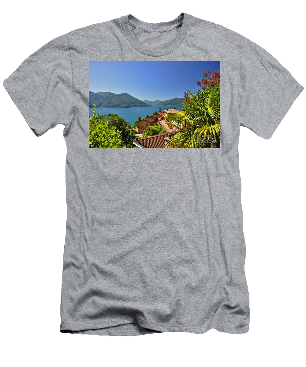 Panoramic View Men's T-Shirt (Athletic Fit) featuring the photograph Panoramic View Over An Alpine Lake by Mats Silvan