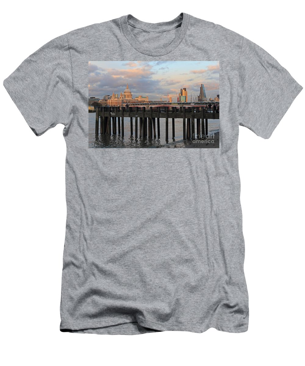 Sunset Over St Pauls Cathedral London Men's T-Shirt (Athletic Fit) featuring the photograph Sunset Over St Pauls Cathedral London by Julia Gavin