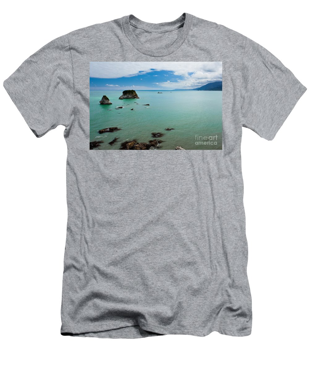 South Island Men's T-Shirt (Athletic Fit) featuring the photograph Tasman Sea At West Coast Of South Island Of Nz by Stephan Pietzko
