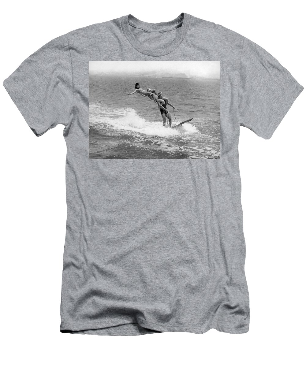 1920s Men's T-Shirt (Athletic Fit) featuring the photograph Aquaplaning Trio Falls by Underwood Archives