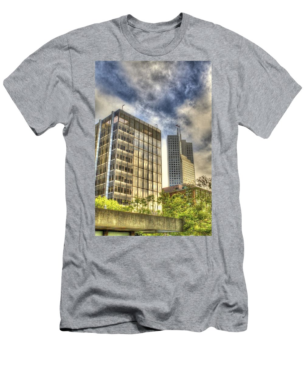 San Francisco Men's T-Shirt (Athletic Fit) featuring the photograph 345 California Center Two Flags by SC Heffner