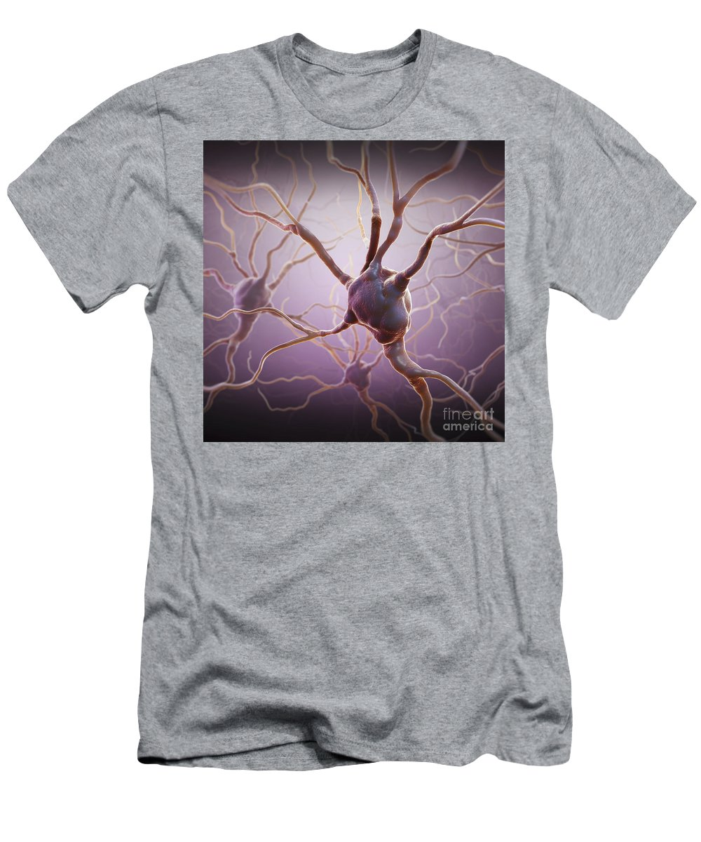 Biomedical Illustration Men's T-Shirt (Athletic Fit) featuring the photograph Neuron by Science Picture Co