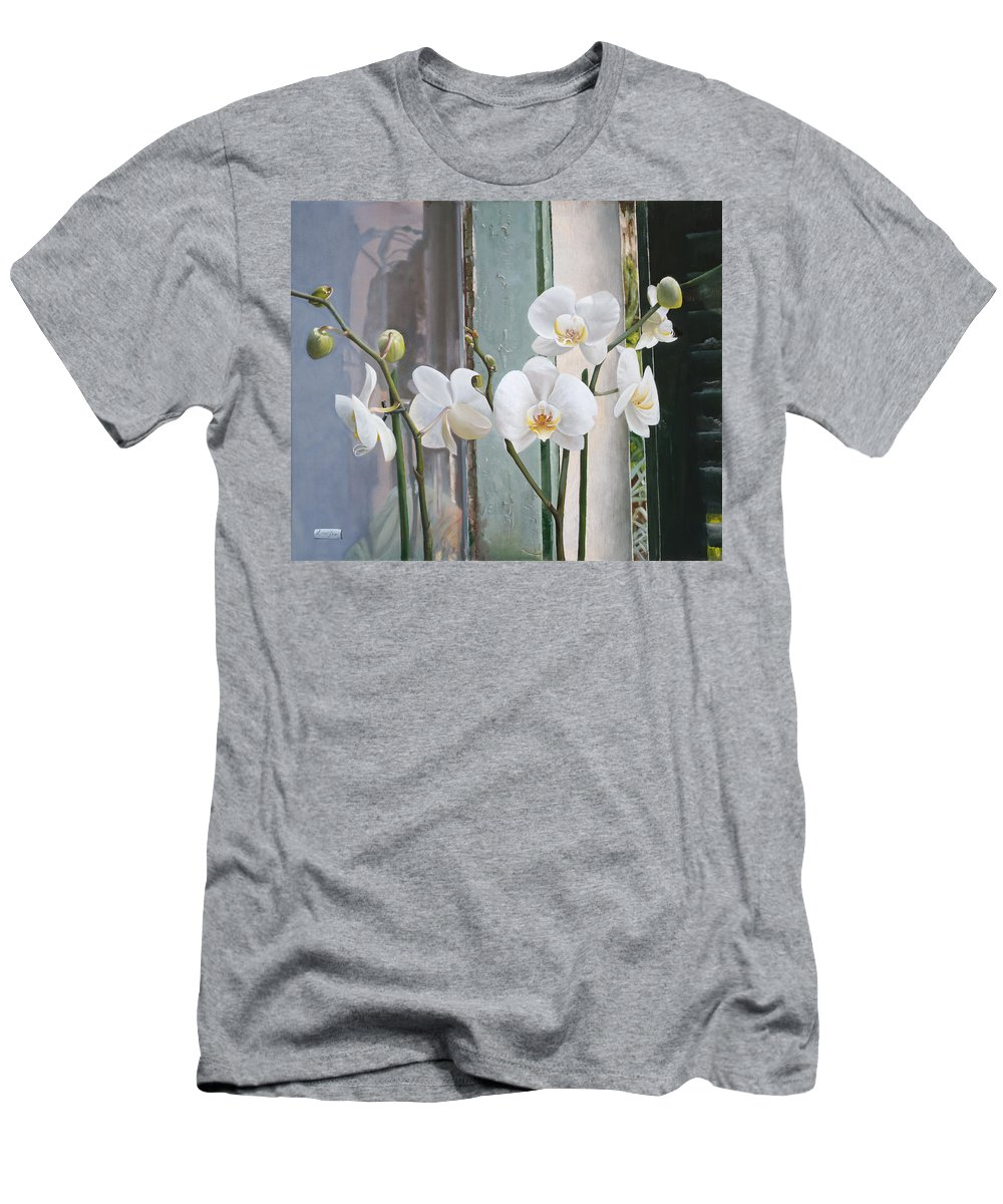 Still Life Men's T-Shirt (Athletic Fit) featuring the painting 4 Orchidee by Danka Weitzen
