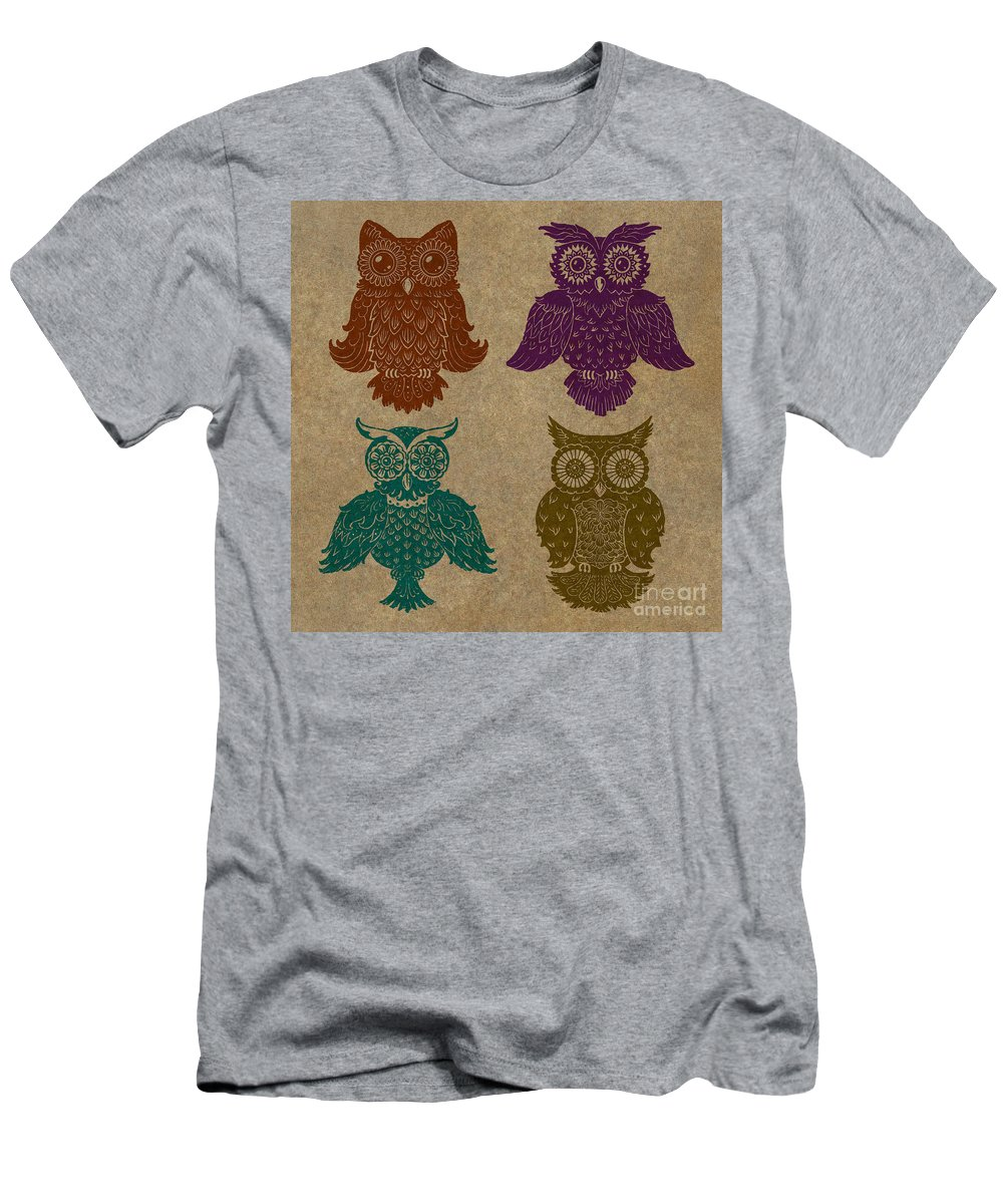 Owls Men's T-Shirt (Athletic Fit) featuring the painting 4 Sophisticated Owls Colored by Kyle Wood