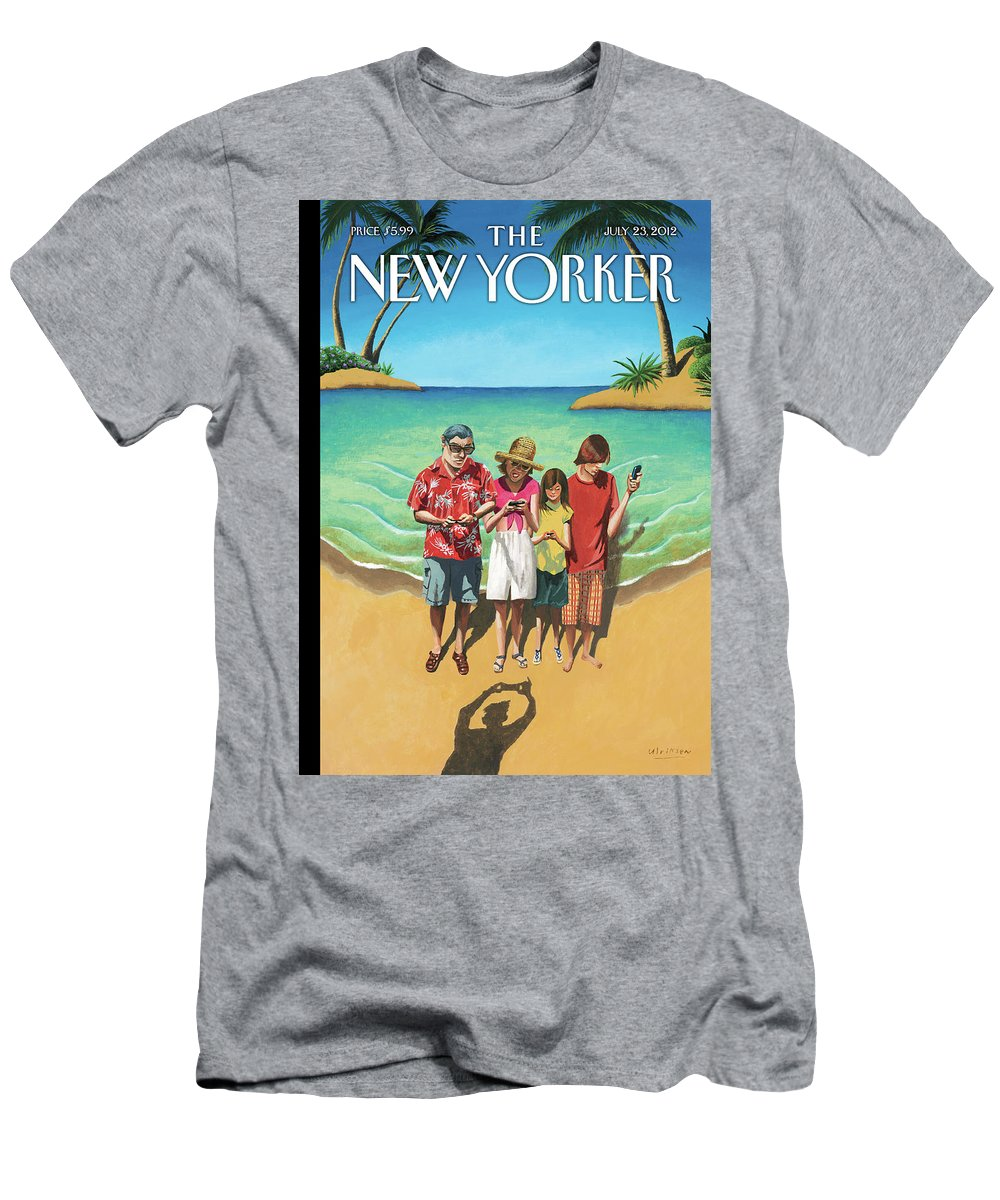 Shore T-Shirt featuring the painting Capturing the Memories by Mark Ulriksen