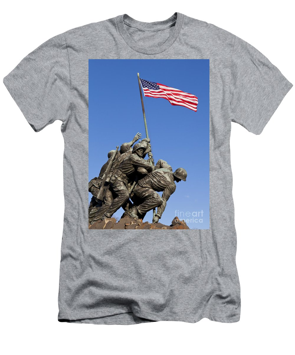 Us Men's T-Shirt (Athletic Fit) featuring the photograph Us Marine Corps Memorial by B Christopher