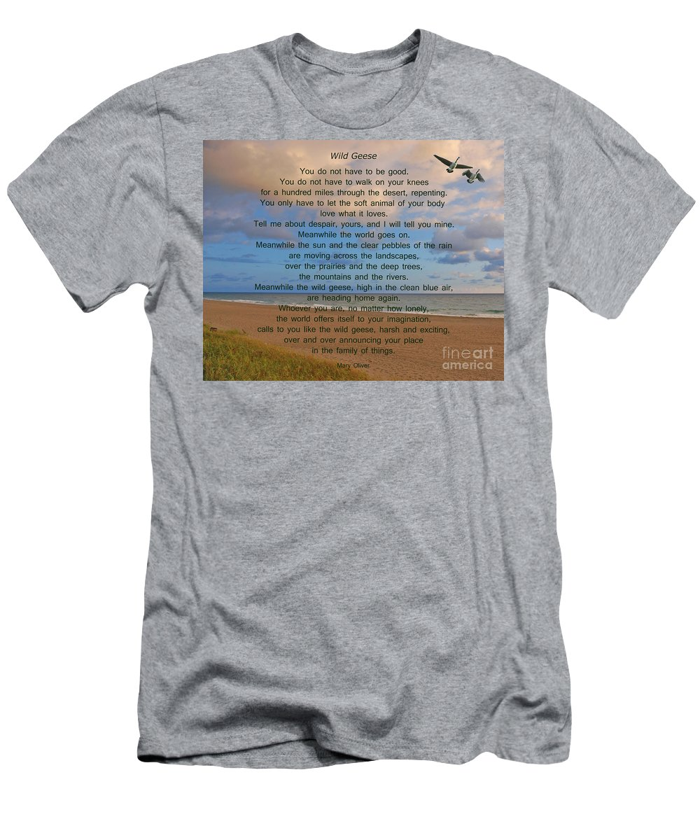 Wild Geese Men's T-Shirt (Athletic Fit) featuring the photograph 40- Wild Geese Mary Oliver by Joseph Keane