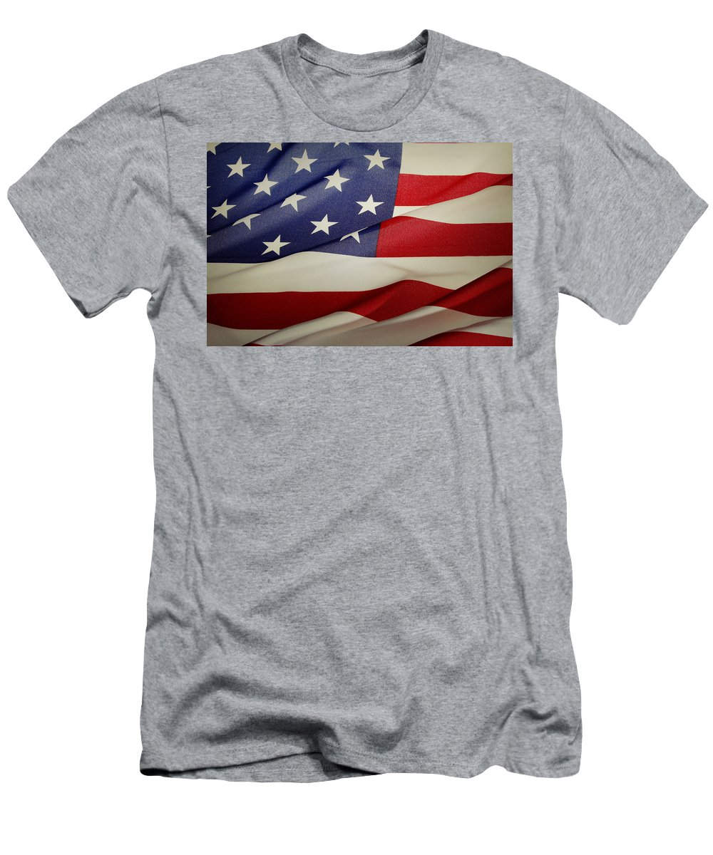 America Men's T-Shirt (Athletic Fit) featuring the photograph American Flag by Les Cunliffe