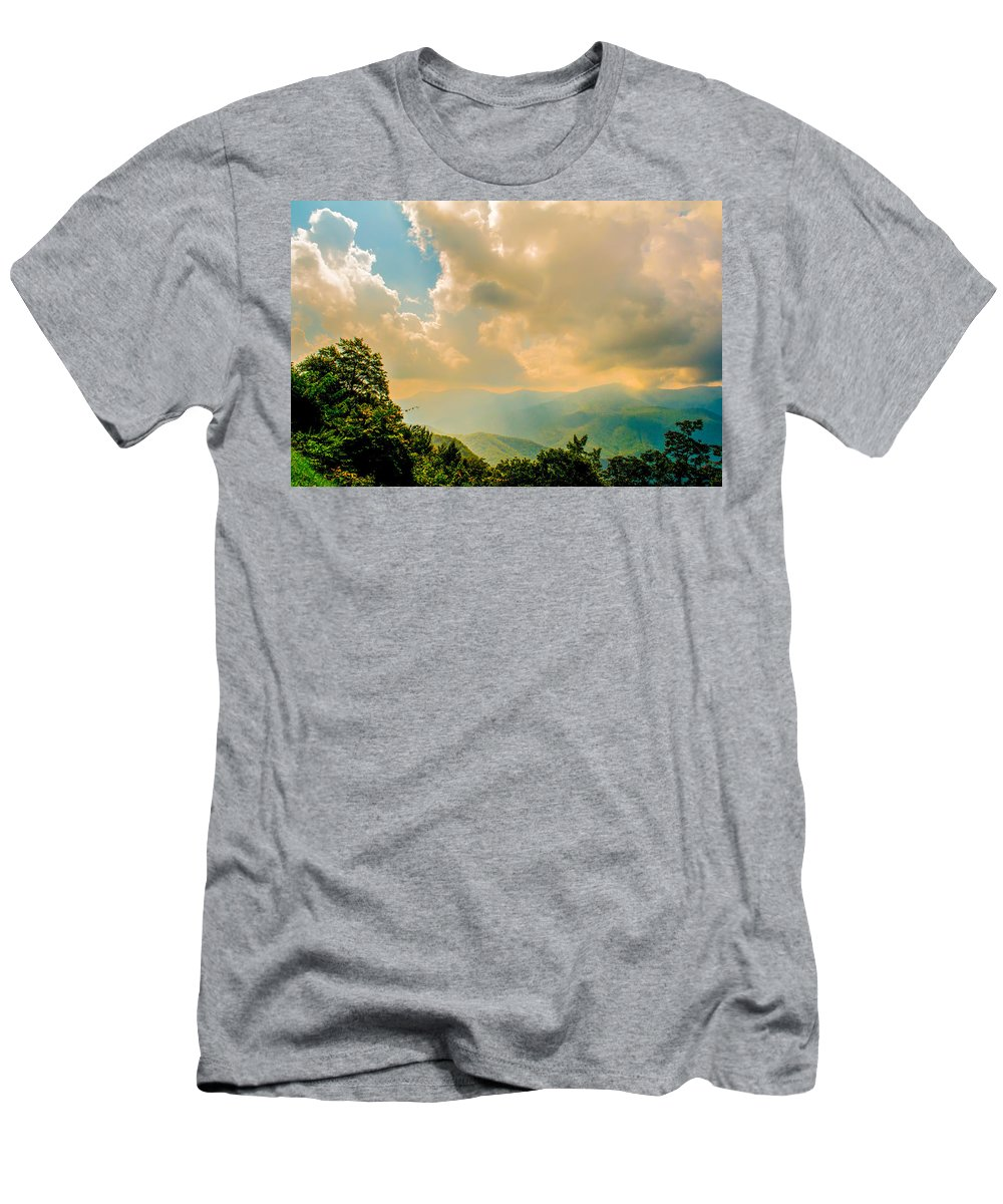 View Men's T-Shirt (Athletic Fit) featuring the photograph Blue Ridge Parkway Scenic Mountains Overlook by Alex Grichenko