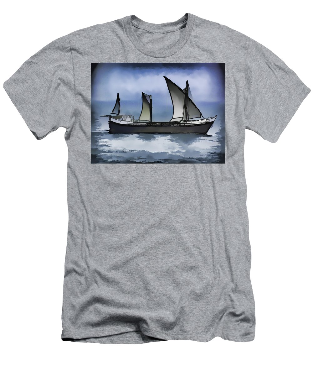 Action Men's T-Shirt (Athletic Fit) featuring the digital art Fishing Vessel In The Arabian Sea by Ashish Agarwal