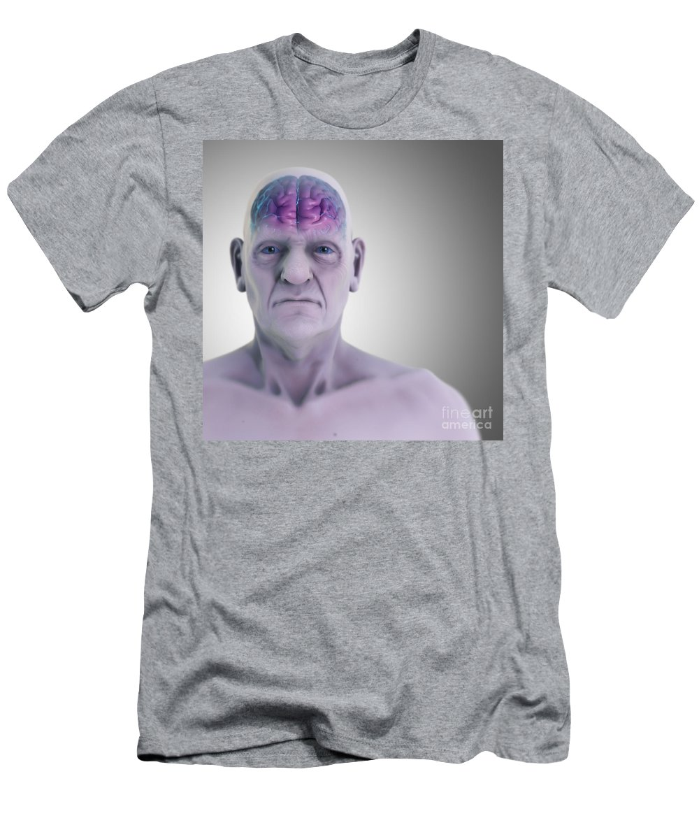 3d Visualisation Men's T-Shirt (Athletic Fit) featuring the photograph Geriatric Brain by Science Picture Co