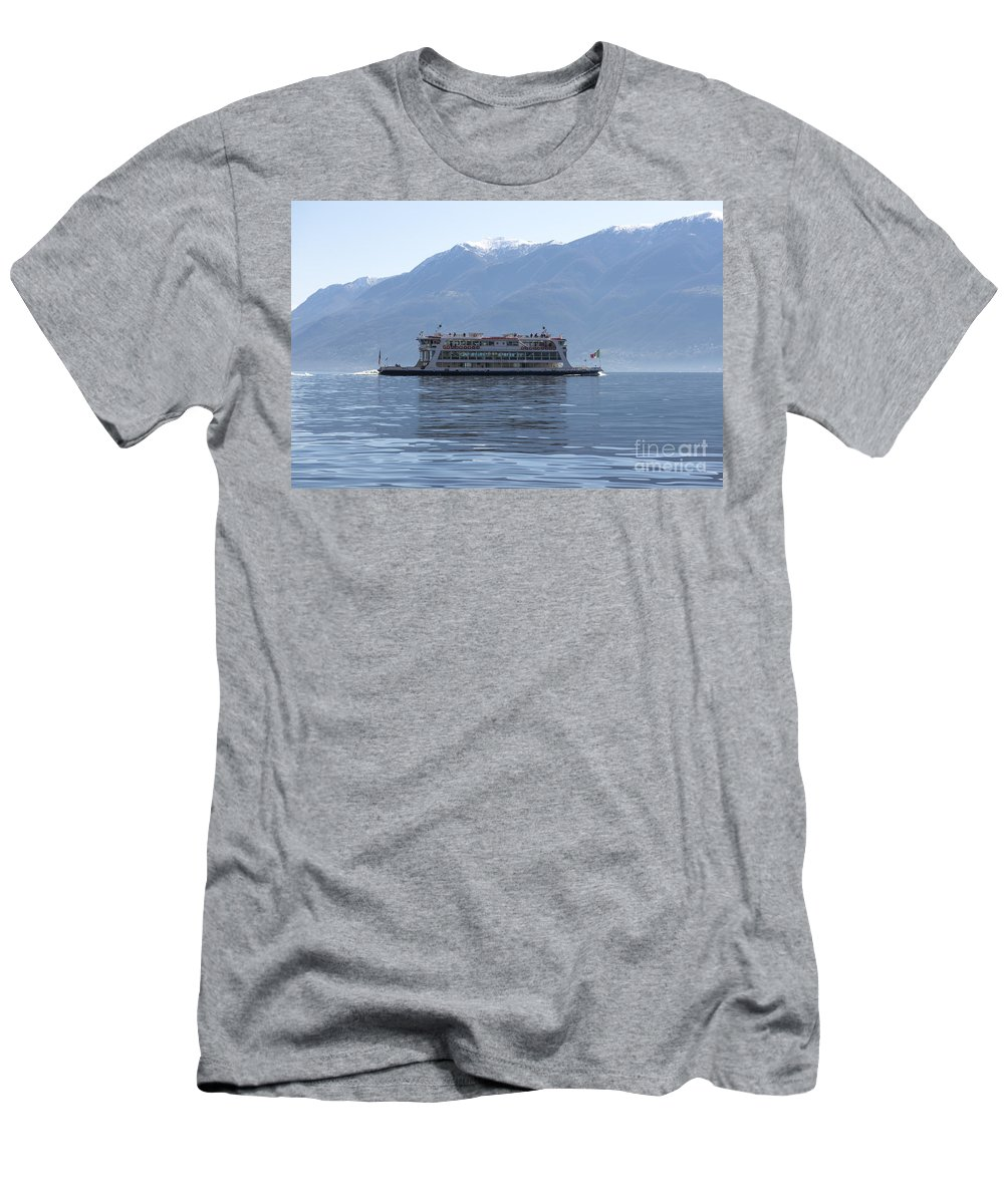 Passenger Ship Men's T-Shirt (Athletic Fit) featuring the photograph Passenger Ship On An Alpine Lake by Mats Silvan