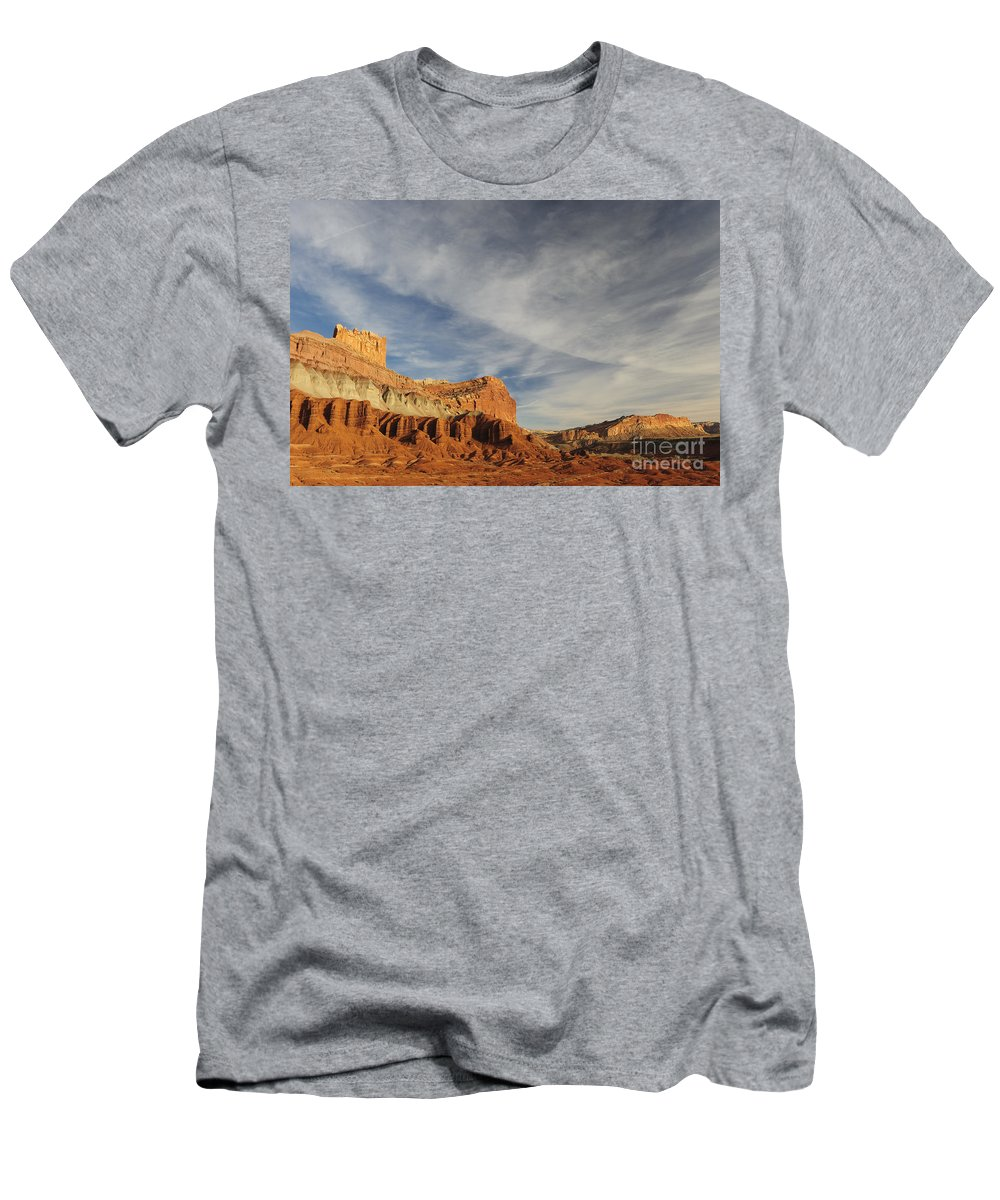 Geology Men's T-Shirt (Athletic Fit) featuring the photograph The Castle, Capitol Reef National Park by John Shaw