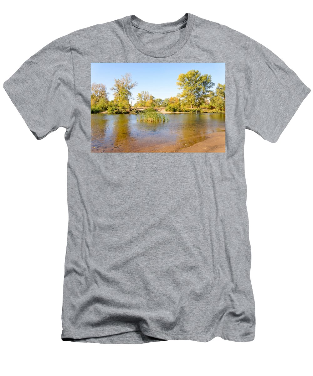 Dnieper Men's T-Shirt (Athletic Fit) featuring the photograph Trees Close To The River by Alain De Maximy