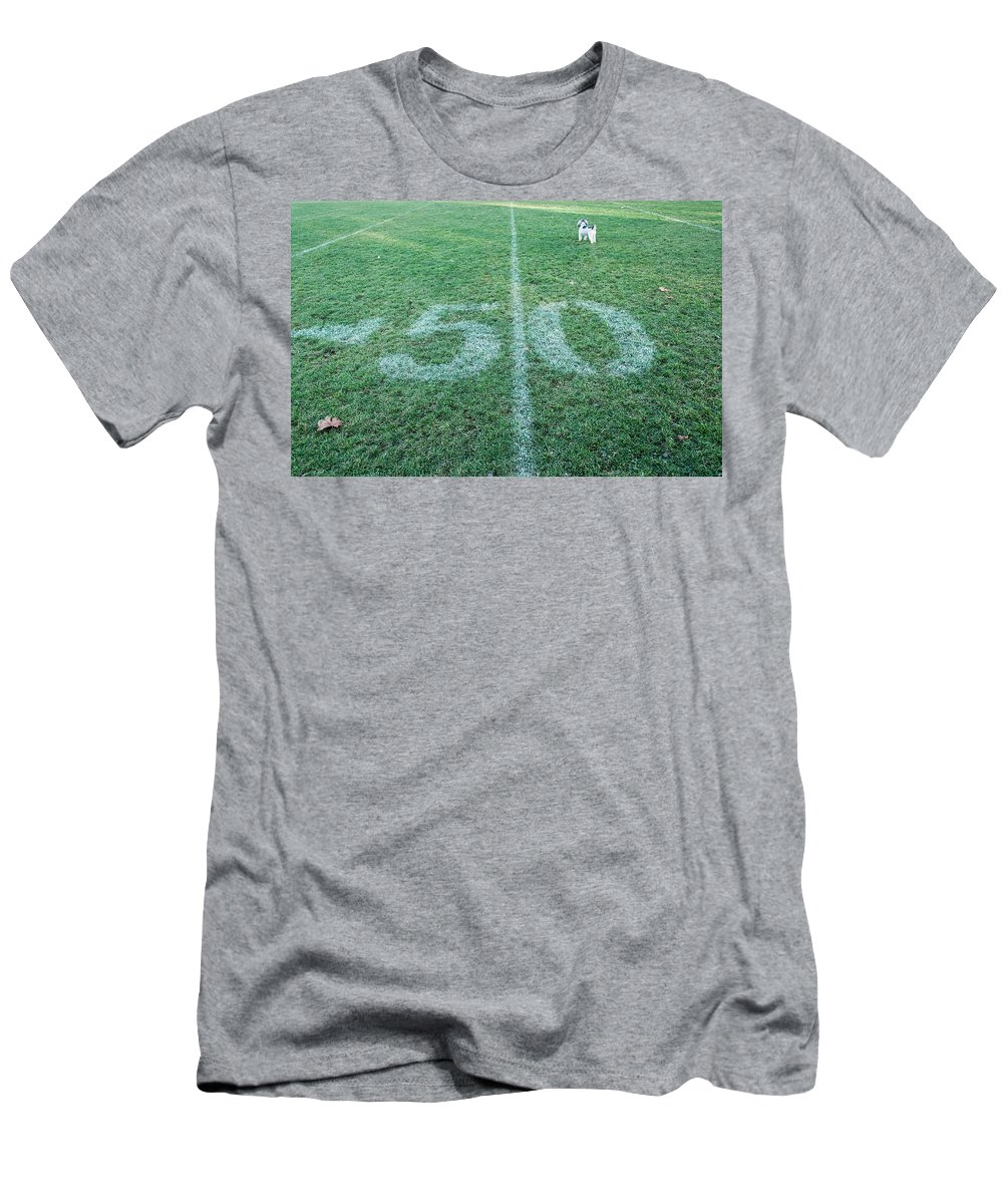 Football Field Men's T-Shirt (Athletic Fit) featuring the photograph 50 Yard Mascot by Keith Armstrong