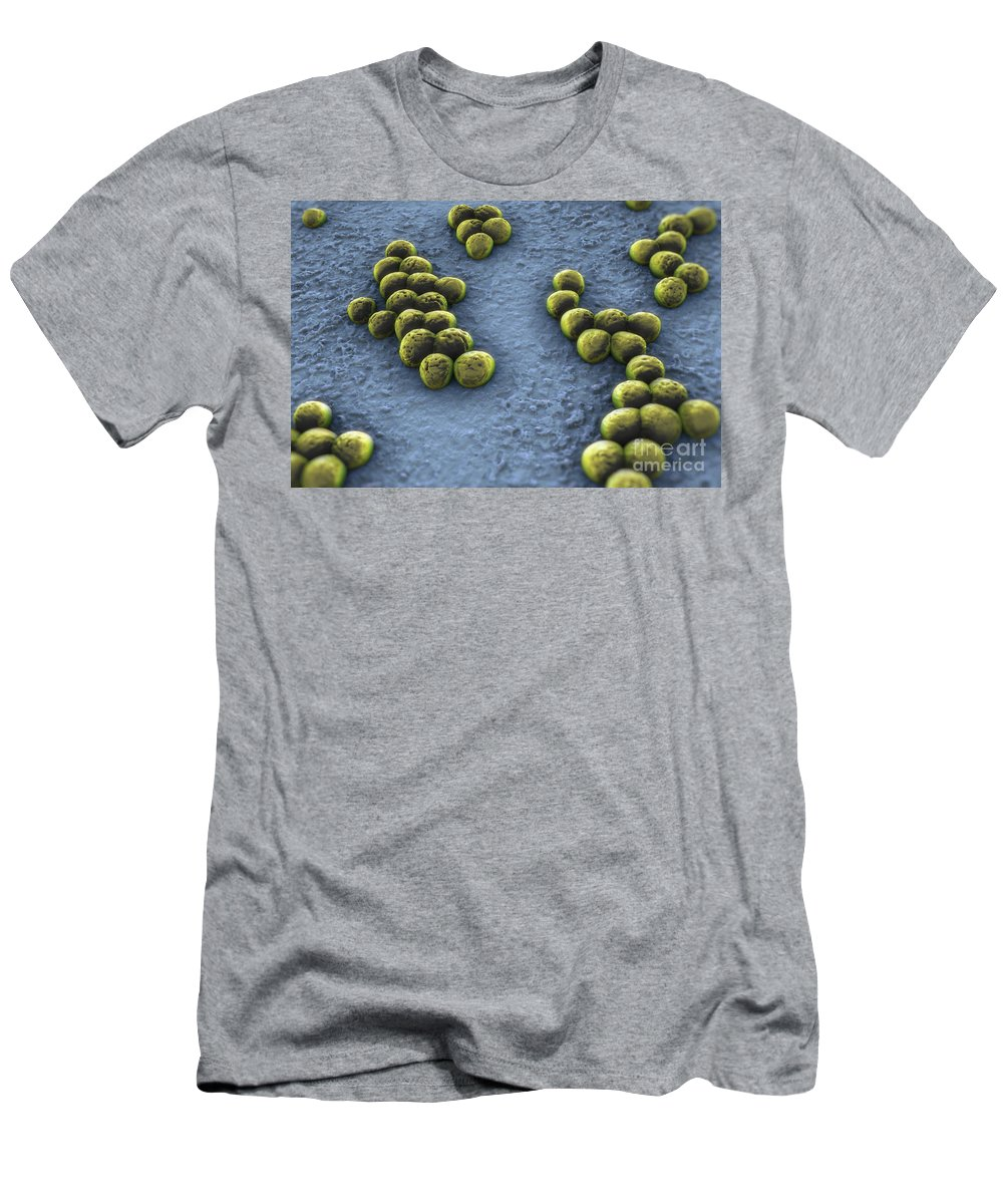3d Visualisation Men's T-Shirt (Athletic Fit) featuring the photograph Superbug Mrsa by Science Picture Co