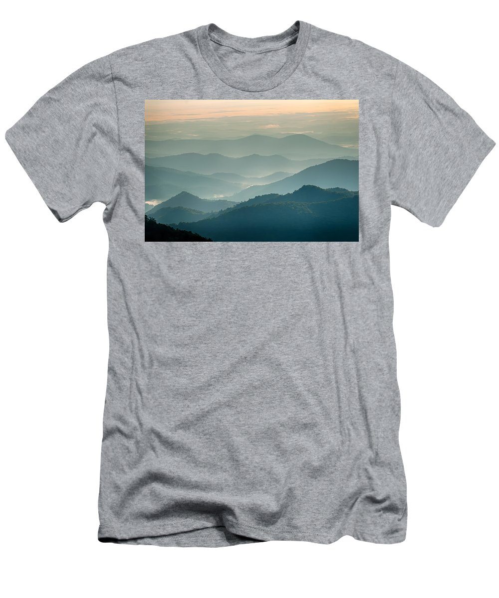 Sunset Men's T-Shirt (Athletic Fit) featuring the photograph The Simple Layers Of The Smokies At Sunset - Smoky Mountain Nat. by Alex Grichenko