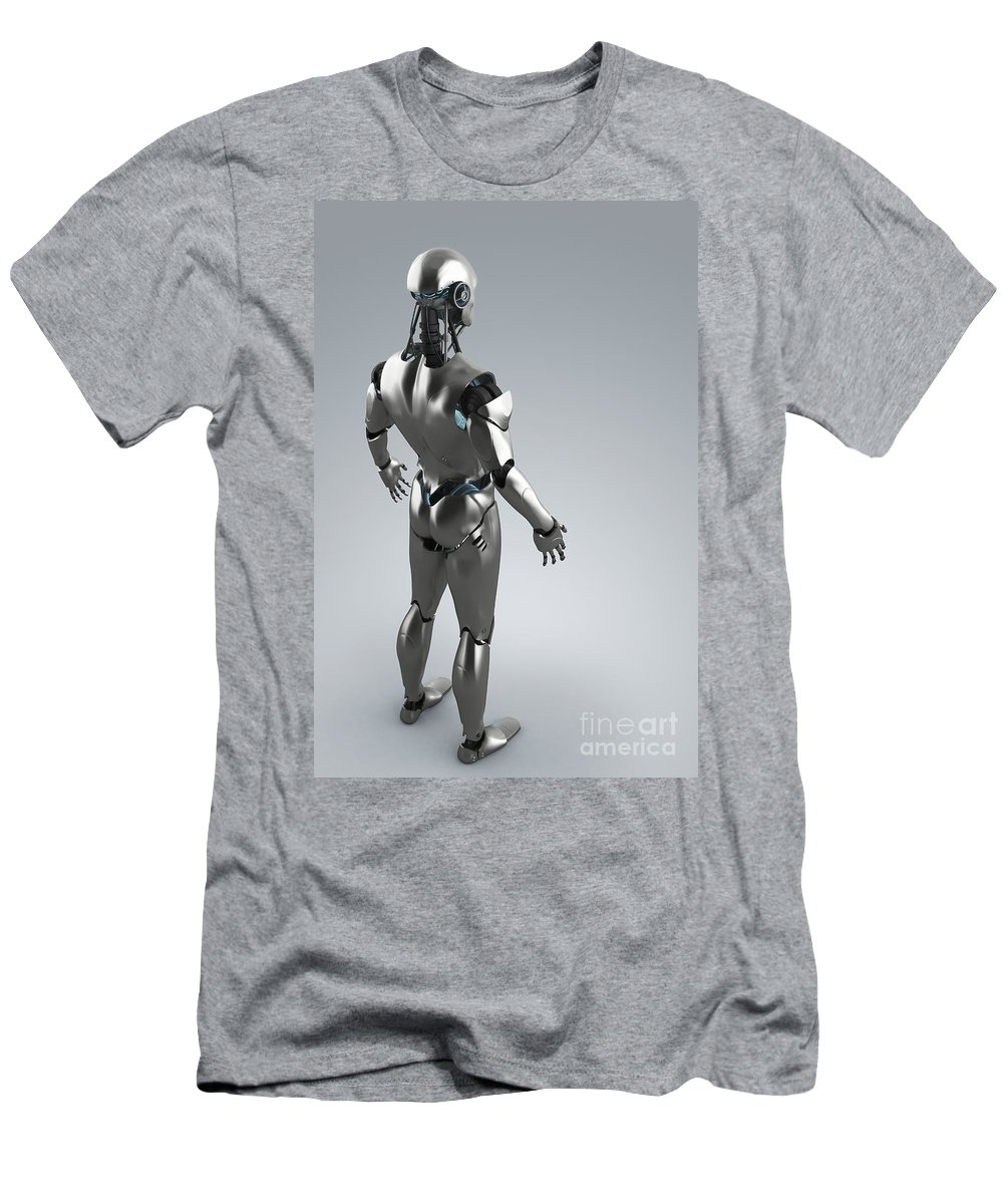 Grey Background Men's T-Shirt (Athletic Fit) featuring the photograph Android by Science Picture Co
