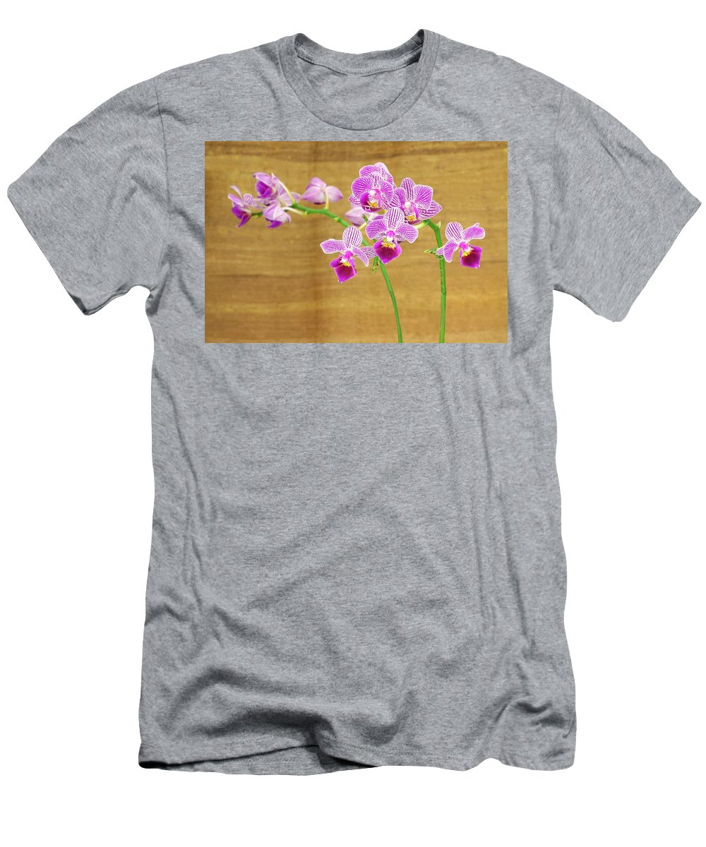 Orchid Men's T-Shirt (Athletic Fit) featuring the photograph Purple Orchid-12 by Rudy Umans