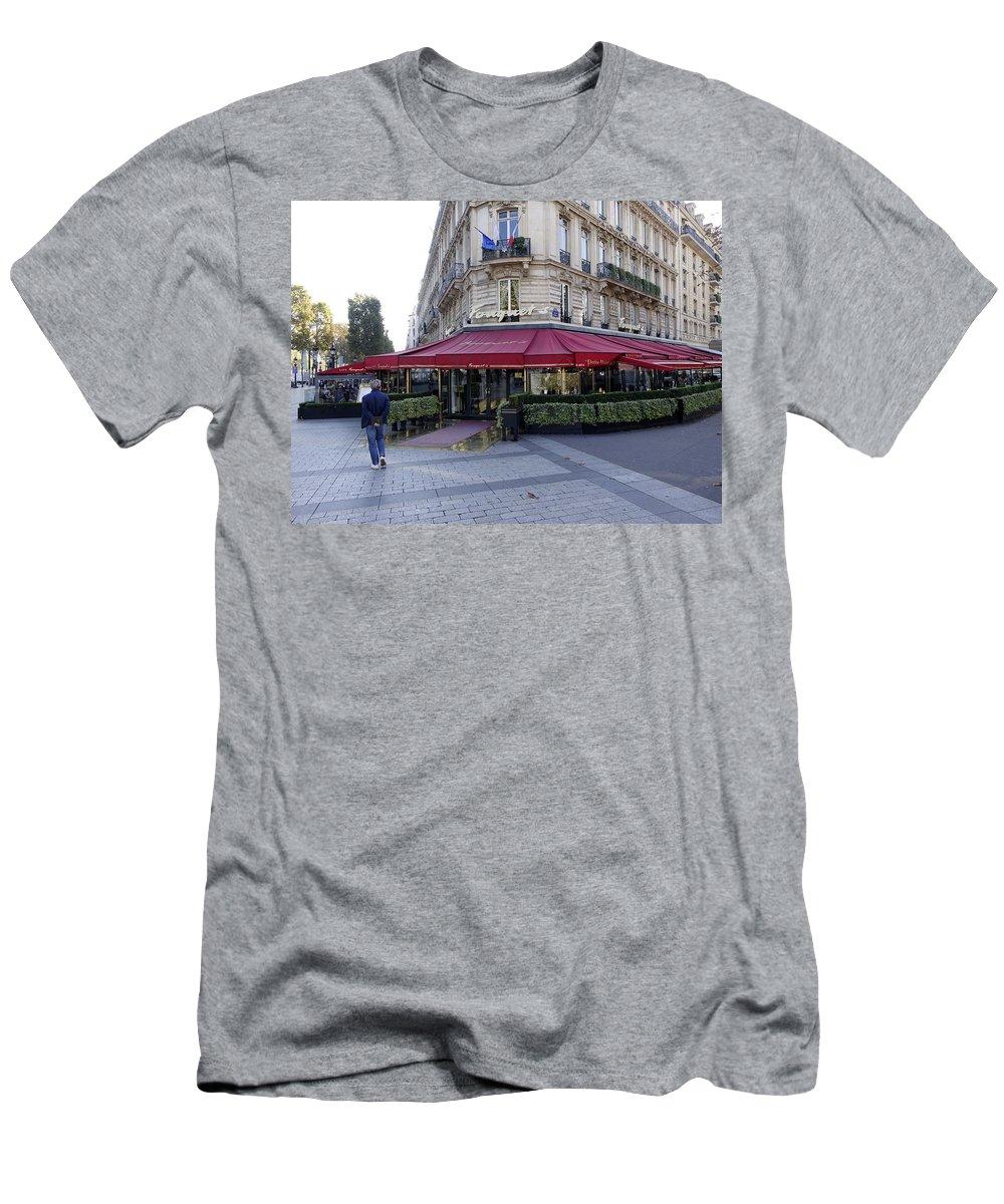 Paris Men's T-Shirt (Athletic Fit) featuring the photograph A Cafe On The Champs Elysees In Paris France by Richard Rosenshein