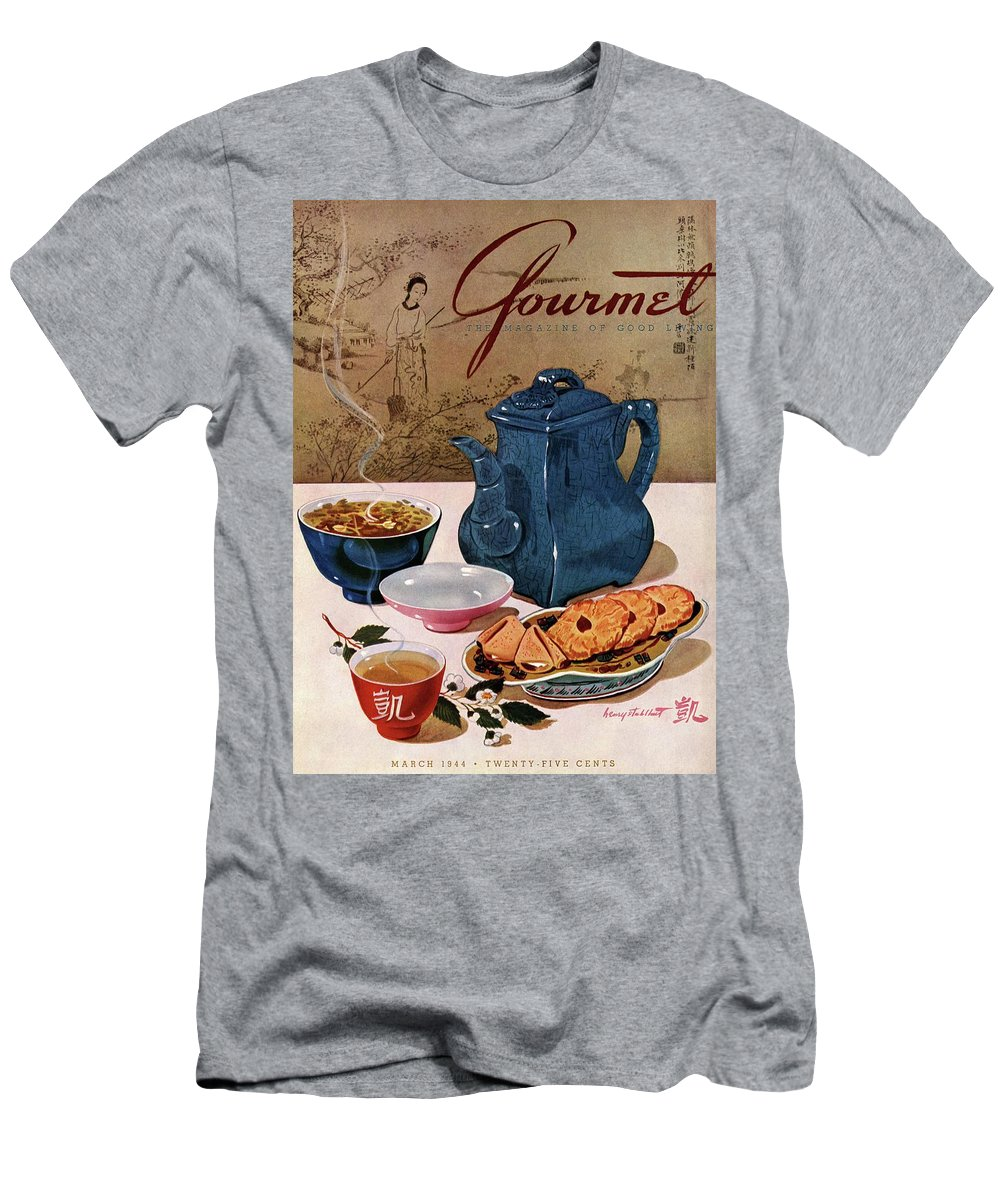Food Men's T-Shirt (Athletic Fit) featuring the photograph A Chinese Tea Pot With Tea And Cookies by Henry Stahlhut