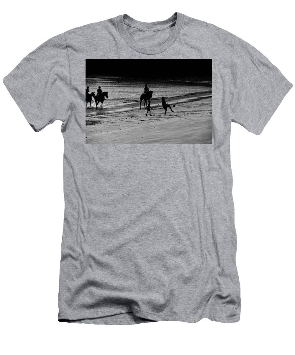 Equestrian Men's T-Shirt (Athletic Fit) featuring the photograph A Day At The Beach by Douglas Barnard