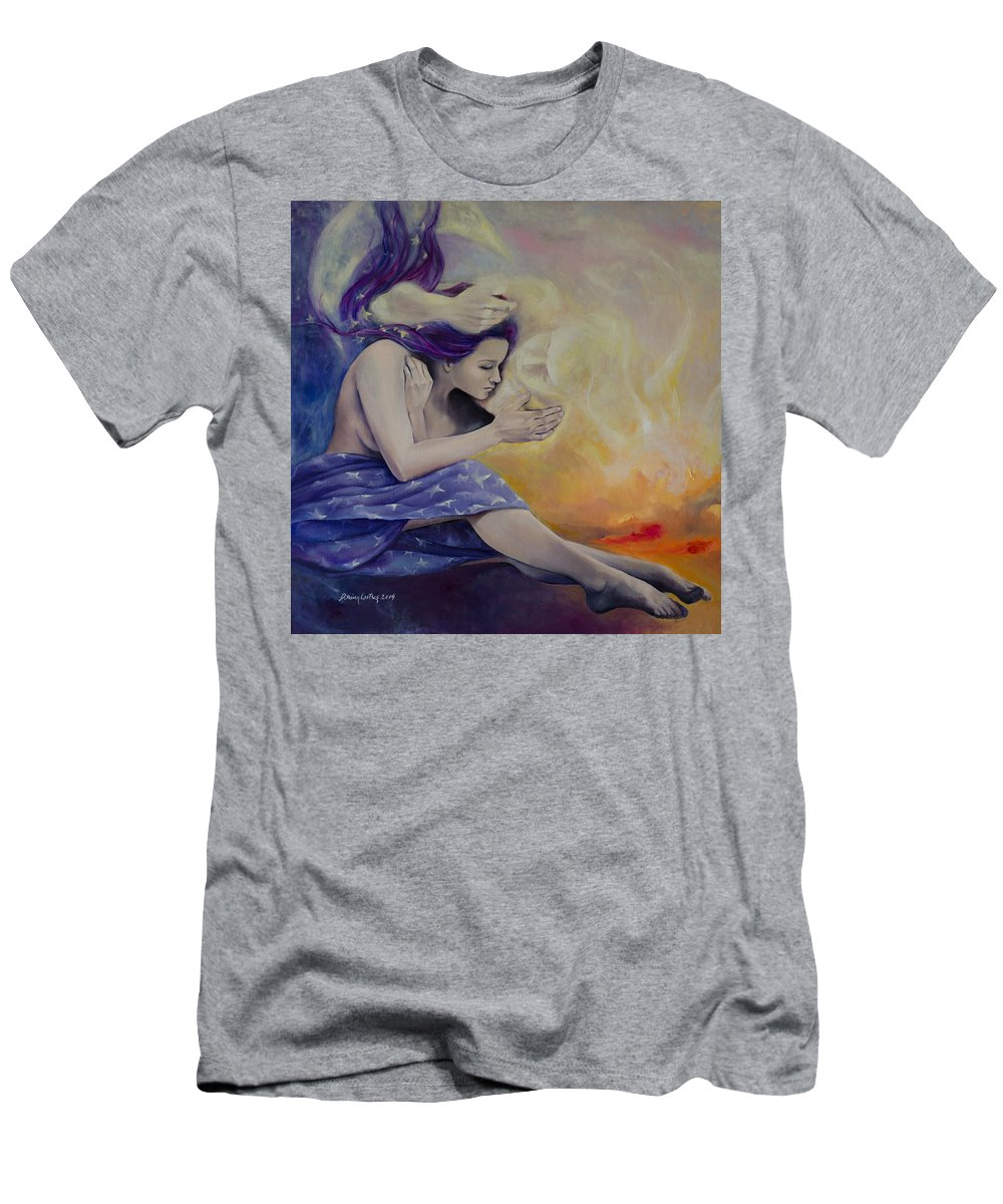 Fantasy Men's T-Shirt (Athletic Fit) featuring the painting A Heaven For Two by Dorina Costras