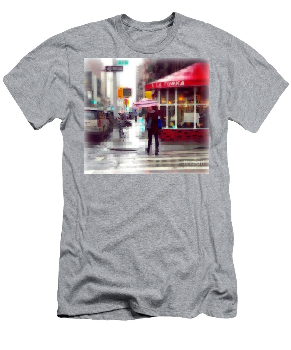 Bar Men's T-Shirt (Athletic Fit) featuring the photograph A La Turka In The Rain - Restaurants Of New York by Miriam Danar